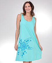 I Can Too Plus Size A Line Sleeveless Beach Dress in Starry Seafoam