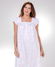 Eileen West Nightgown - Cap Sleeve Cotton Knit in Berry Floret