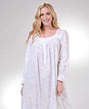 Eileen West Cotton Lawn Nightgown - Long Sleeve in Rose Whisper
