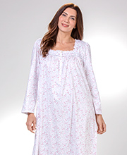 Eileen West Long Sleeve Nightgown - Cotton Knit Gown in Berry Floret