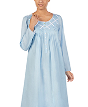 Eileen West Long Sleeve Cotton Lawn Nightgown in Blue Inspiration