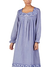 Long Sleeve Eileen West Cotton Lawn Nightgown in Jeany Blue