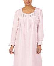 Eileen West Cotton Lawn Long Sleeve Nightgown in Rose Creme
