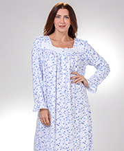 Long Sleeve Nightgowns by Eileen West - Cotton Knit in Royal Blossom