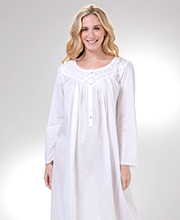 Long Sleeve Eileen West Cotton Lawn Nightgown in White Inspiration