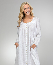 Eileen West Button-Front Gown/Robe - Cotton Lawn in Rose Whisper