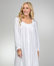 Eileen West Button Front Robe/Nightgown - Cotton Lawn in White Wonderland