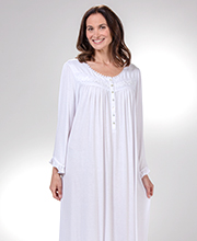 Eileen West Modal Knit Long Nightgown - Long Sleeve in Angelica White