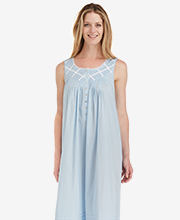 Sleeveless Eileen West Cotton Lawn Long Nightgown - Blue Inspiration