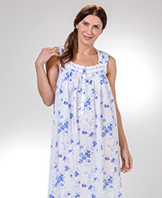 Eileen West Long Sleeveless Cotton Lawn Nightgown in Blue Wonderland