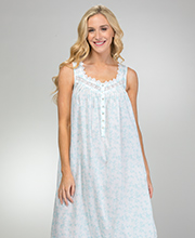 Cotton Lawn Eileen West Sleeveless Long Nightgown in Mermaid Vine