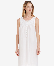 Eileen West 100% Cotton Lawn Long Sleeveless Nightgown - White Inspiration