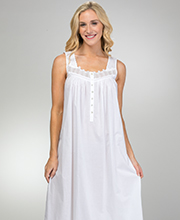White Cotton Nightgowns - Long Eileen West Sleeveless in White Mirage