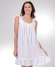 Eileen West Short Cotton Lawn Nightgowns - Sleeveless Rose Whisper