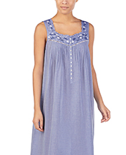 Long Cotton Lawn Eileen West Sleeveless Nightgown in Jeany Blue
