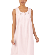 Sleeveless Nightgowns - Eileen West Long Cotton Lawn in Rose Creme