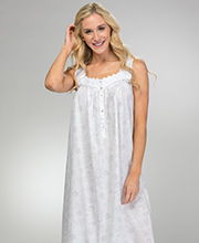 Eileen West Cotton Lawn Sleeveless Long Nightgown in Rose Whisper