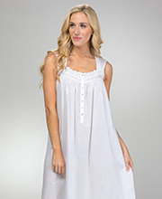 Eileen West Long Cotton Sleeveless Nightgown in White Wonderland