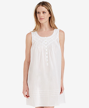Short Eileen West Cotton Lawn Sleeveless Nightgown In White Inspiration