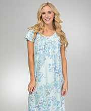Miss Elaine Cotton-Rich Long Nightgown - Flutter Sleeve in Enchanted Floral