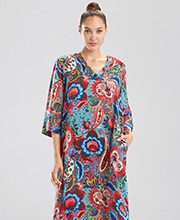 N by Natori Kaftans - Long Polyester V-Neck Lounger in Paisley Bloom