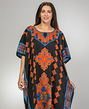 Winlar Plus Polyester Long Caftan Loungers in Midnight Fire