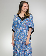 Rayon Long V-Neck Caftan by Ellen Tracy in Paisley Floral
