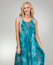 Coverups for Women - 100% Rayon Long Sleeveless Beach Dress in Sky Burst