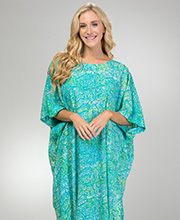94431521eb Caftans for Women - Rayon Bali Batiks Plus Size Long Kaftans in Abstract  Lake