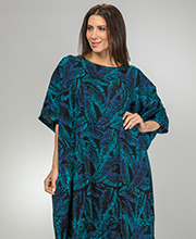 bbc3cac7f0 Kaftans by Bali Batik - One Size Rayon Short Sleeve Lounger in Midnight  Ferns