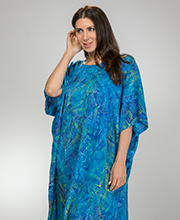 eeab34c967 Beach Caftan by Bali Batiks - Short Sleeve Rayon in Ocean Feathers