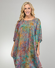 2615a3d74e Bali Batiks One Size Short Sleeve 100% Rayon Kaftan in Sunrise Twist