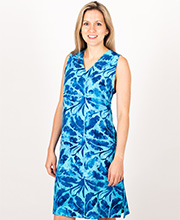 Treasures of Bali Rayon Sleeveless Sundress in Royal Palms