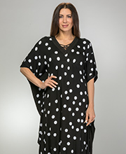 Ellen Tracy Rayon Spandex V-Neck Kaftan Lounger in Dotty