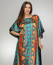 Plus Caftan - Satin Winlar Long Kaftan in Mango Castle