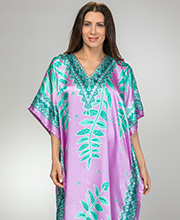 Satin Caftans -  V-Neck Sante Charmeuse Kaftan in Seafoam Vines