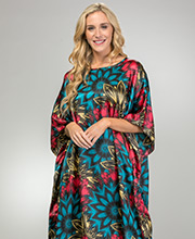 Long Winlar Satin Charmeuse One Size Kaftan in Fantastic Floral