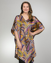 Plus Kaftans - Short Sante V-Neck Polyester Caftan in Jeweled Paisley