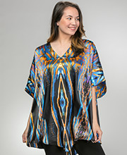 Plus Size Sante Satin Polyester Kaftan Top in Liquid Fusion