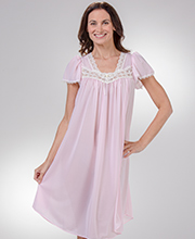 "Miss Elaine Nightgowns - Short ""Silk Essence"" Polyester Flutter Sleeve in Pink"