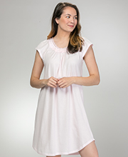 Miss Elaine Embroidered Short Flutter Sleeve Silkyknit Nightgown in Petal Pink
