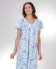Cotton Knit Aria Short Sleeve Nightgown in Peri Posies