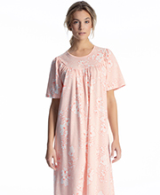 Calida Interlock Cotton Knit Short Sleeve Nightgown in Rose Water
