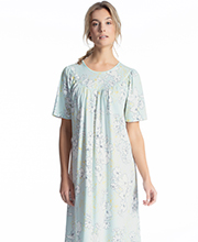Cotton Nightgowns - Calida Short Sleeve Knit Gown in Whisper