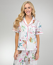 La Cera Cotton Lawn Short Sleeve Pajamas in Hummingbird Island