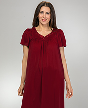Miss Elaine Classic Flutter Sleeve Long Nylon Nightgown in Dark Cherry
