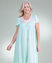 """Silk Essence"" Miss Elaine Long Polyester Flutter Sleeve Nightgown in Aqua"