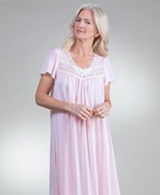 "Long Miss Elaine ""Silk Essence"" Flutter Sleeve Nightgown in Pink"