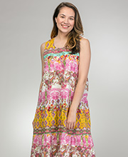 Cotton Sleeveless Dresses - La Cera Muumuu Dress in Victorian Paisley