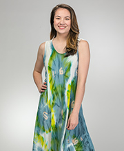 Long Sleeveless Rayon One Size Sun Dress in Lake Burst